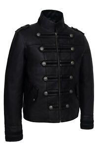 Black Casual Vintage Cowhide Genuine Leather Jacket Black Field Coat