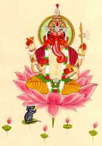 Hand-Painted-Lord-Ganesha-Miniature-Painting-Indian-Religious-Art-On-Paper