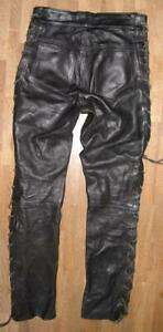 GENUINE-LEATHER-SCHNUR-LEDERJEANS-Biker-Lederhose-in-schwarz-ca-W33-034-L35-034