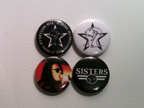 """4 x Sisters Of Mercy 1/"""" Pin Button Badges post punk dark wave badge music"""