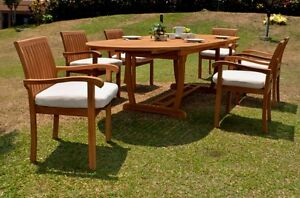 7-PC-DINING-TEAK-SET-GARDEN-OUTDOOR-PATIO-FURNITURE-NAPA-STACKING-117-034-MASC-OVAL