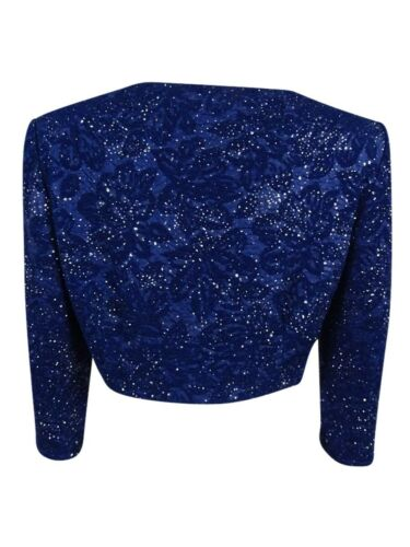 Alex Evenings Women/'s Glittered Textured Cropped Jacket 8 Blue Jay