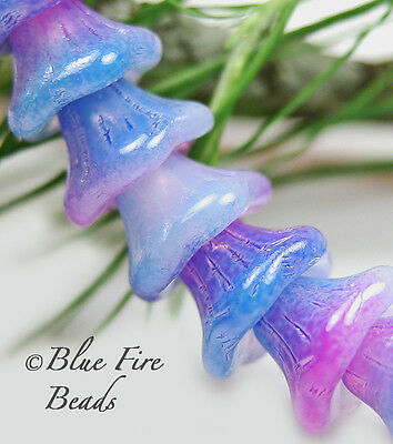 BFB-PREMIUM CZECH GLASS 7/5MM BELL FLOWERS   *LARKSPUR / OPAL* 50 BEADS