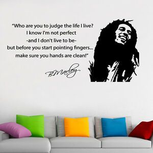 Bob marley famous wall art quote vinyl decal sticker for Bob marley wall mural