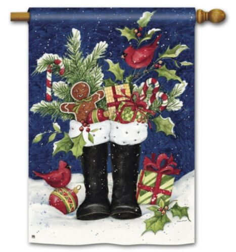 """SANTAS BOOTS FILLED with Gifts CHRISTMAS Holiday 28/"""" x 40/"""" Large Banner Flag"""