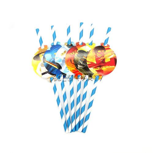 12pcs Ninjago Theme Straws Party Decoration Biodegradable Paper Straw Tube