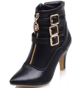Details about Womens High Heels Buckle Strap Zip Ankle Riding Boots Pointed Toe Stilettos B413