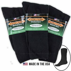 Big-amp-Tall-Men-039-s-Extra-Wide-Socks-MEDICAL-CREW-3-pack-BLACK-Size-11-16-1220B