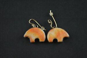 Acheter Pas Cher Native Sterling Silver Bear Boucles D'oreilles W Orange Émail Inlay - 10 G-afficher Le Titre D'origine