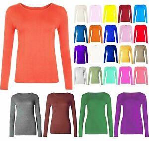 Women-Ladies-Plain-Basic-Long-Sleeve-Round-Neck-Stretch-T-Shirt-Plus-Size-Top
