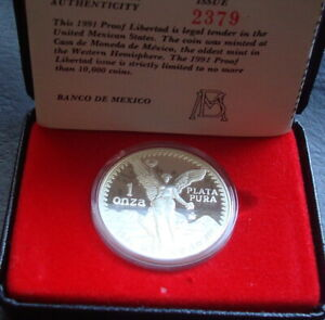 Mexico Rare 1 Onza  Silver Proof Uncirculated 1991