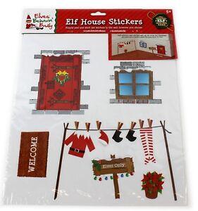 ELF-casa-Wall-Sticker-Foglio-Decorazioni-di-Natale-per-Bambini-Divertente-battiscopa-per-scaffale