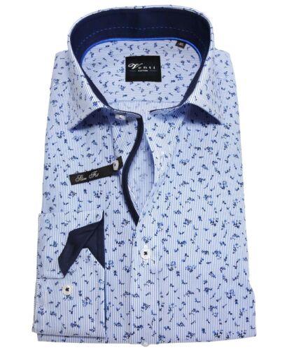 38 a 46 BLU CHIARO floraldessin Venti Uomo camicia manica lunga Slimfit STAFFA facilmente tg