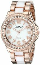 XOXO Women's XO5472 Rose Gold-Tone and White Epoxy Bracelet Watch
