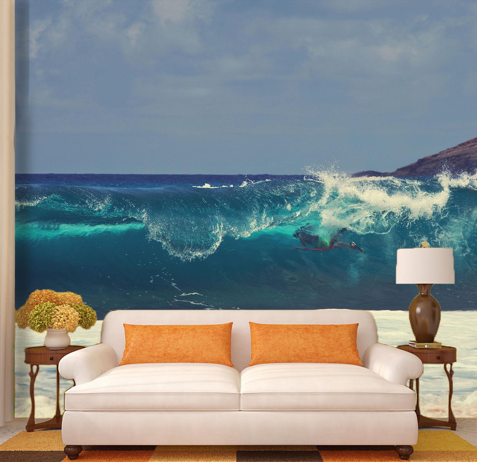 3D Ondes Fleurs 61 Photo Papier Peint en Autocollant Murale Plafond Chambre Art