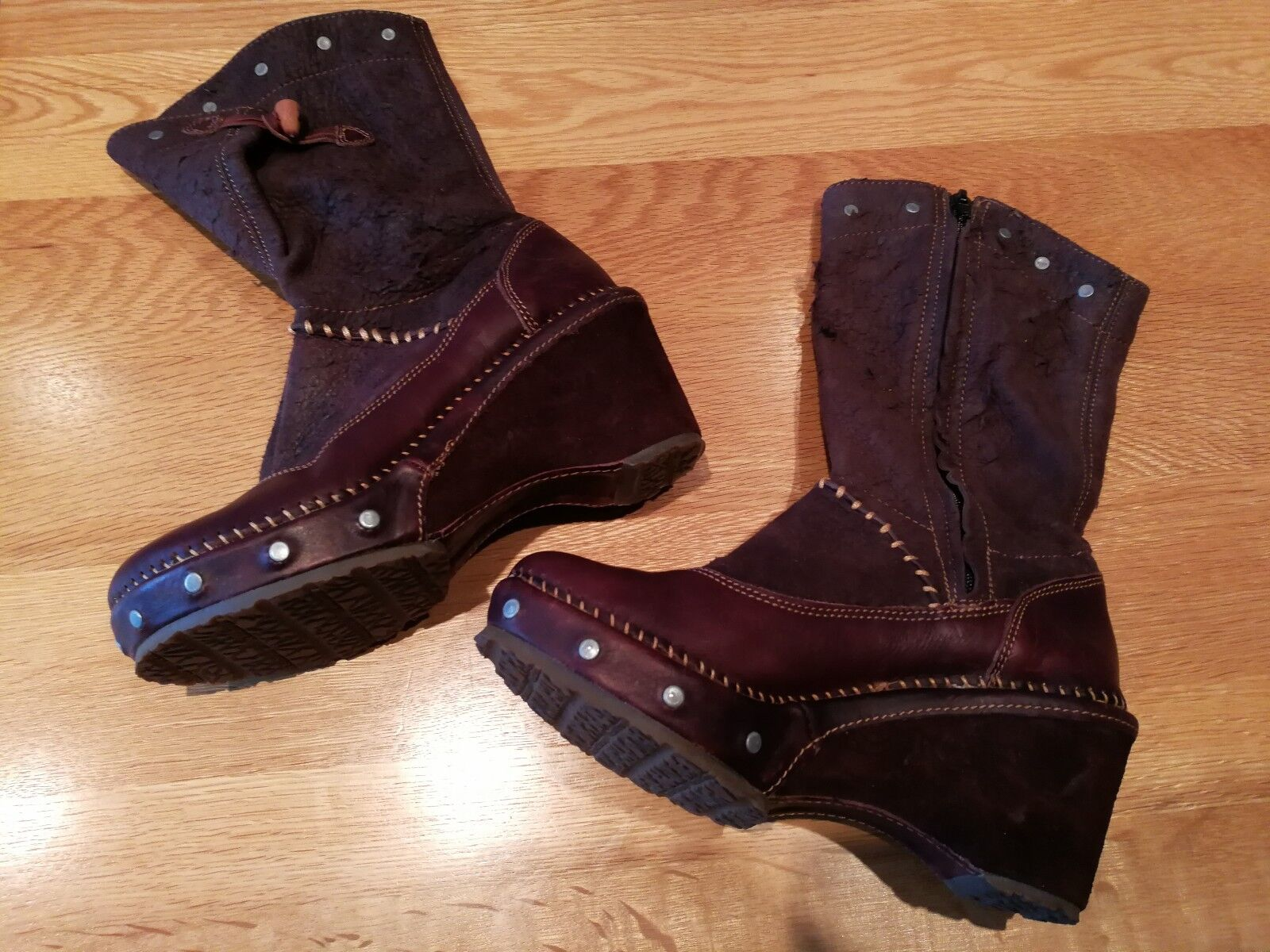 Womens Leather Leather Leather Art Boots size 4 (brown) 20afcb