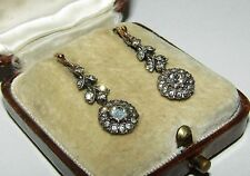 BRILLIANT, VICTORIAN, 9 CT GOLD EARRINGS WITH FINE OLD DIAMOND CUT PASTE GEMS