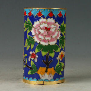Chinese Exquisite Cloisonne Hand-made Flowers Brush Pots