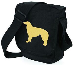 Borzoi-Hound-Bag-Shoulder-Bags-Metallic-Gold-Silver-on-Black-Bag-Xmas-Gift