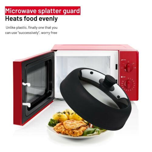 """Vented Glass /& Silicone Food Splatter Guard Large 12/"""" Microwave Plate Cover"""