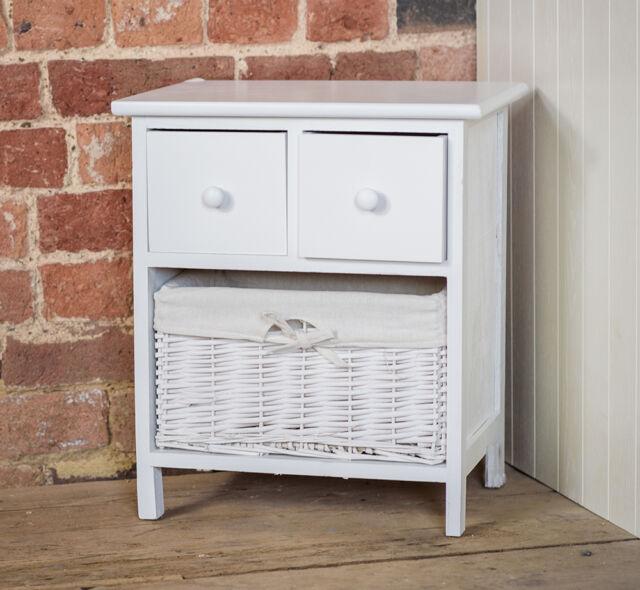 White Bedside Table Shabby Chic Storage Unit Cabinet Wicker Storage Basket