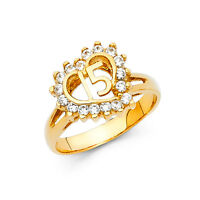 15 Years Old Quinceanera Heart Diamond Ring 14k Solid Yellow Gold