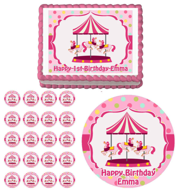 CAROUSEL PINK Edible Baby Shower Birthday Party Cake Topper Cupcake Decoration