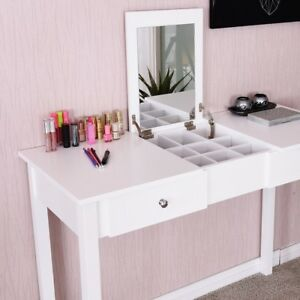 Details About Home White Vanity Table Dressing Tables W Mirror N 2 Drawers Makeup Desk New