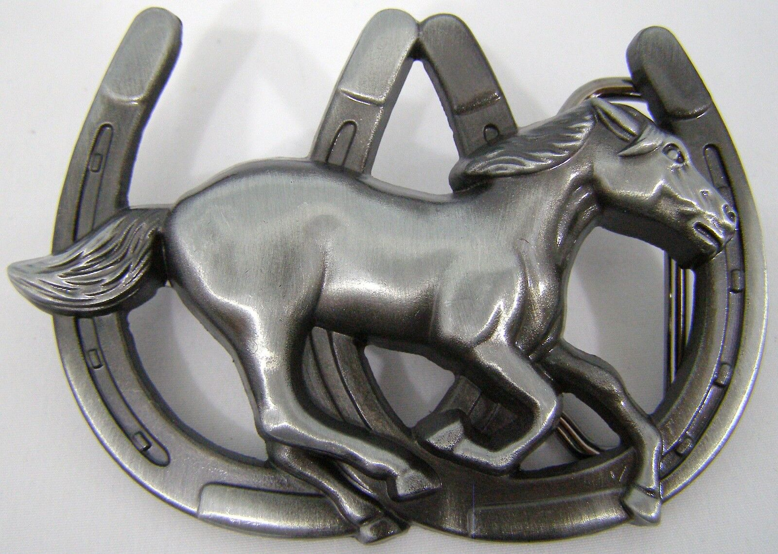 BELT BUCKLES Running Horse Double Horseshoes Antiqued Silver Gray Western NWOT!