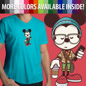 Mickey-Mouse-Disney-Hipster-Cute-Stylish-Men-Women-Unisex-Top-Tee-V-Neck-T-Shirt