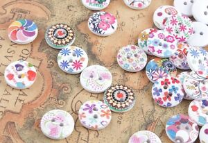 100Pcs Paint Vintage Round 2 Holes Wood Buttons for Sewing Scrapbooking 15mm