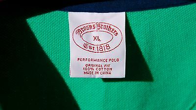 Brooks Brothers XL Gentleman's Green All Cotton Short Sleeve 'Performance Polo'