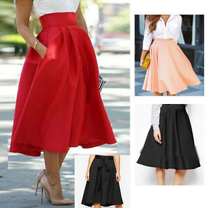 Womens Summer High Waisted Skater Full Circle Pleated A-Line ...