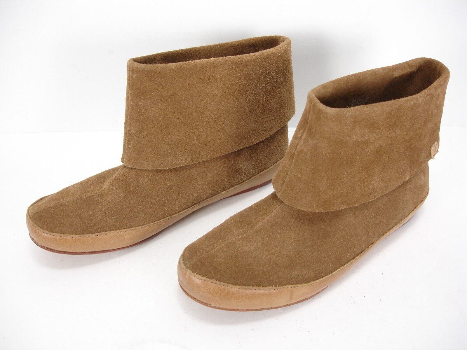 OLUKAI AUANA TAN SUEDE SLIP ON BOOTIES ANKLE BOOTS WOMEN'S 7