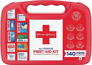 Johnson & Johnson All-Purpose First Aid Kit, Portable Compact First Aid 140 Pc