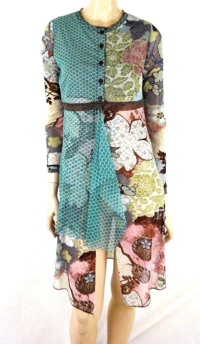 NEW DOUBLE JEU SEMI SHEER NYLON DRESS SIZE T2 S M