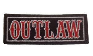 OUTLAW  Patch Rocker Outlaw Biker 1% MCC Motorcycle Denim Leather Chopper Badge