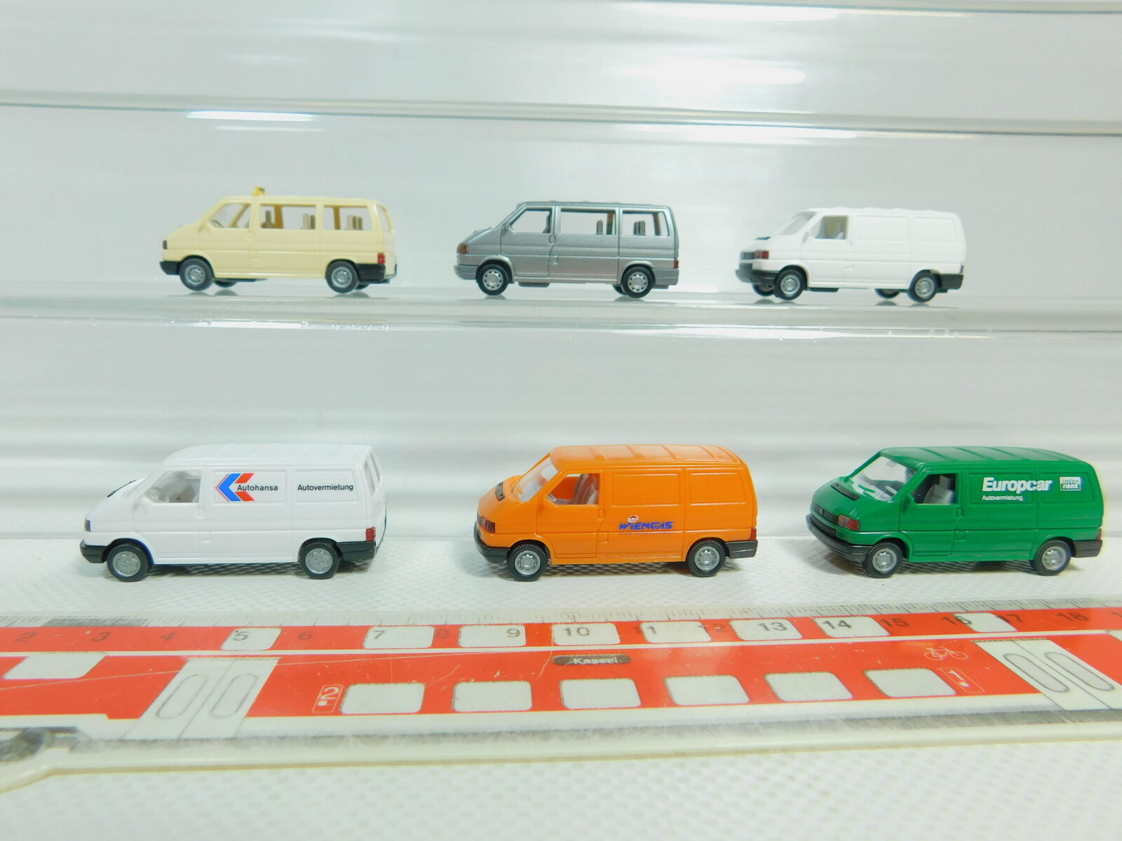 Bo568-0, 5  6x Wiking h0 1 87 volkswagen t4  EUROPCAR + AUTOHANSA + wiengas etc, Neuw