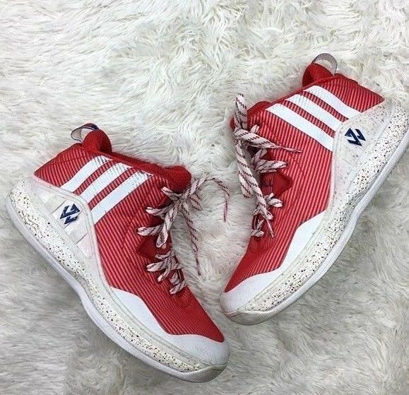 Adidas 7.5 Mens John Wall 1 Red White Men's Basketball Shoes Sneakers S84015