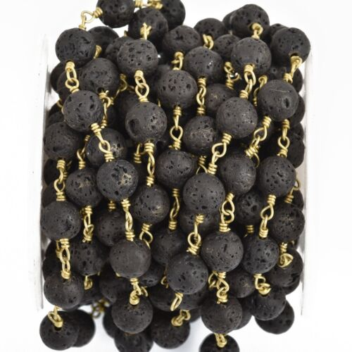 13 feet BLACK LAVA STONE Rosary Chain gold wire 8mm gemstone fch0896b