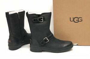 b7707a17c7a Details about Ugg Australia Jenise Black Stud Boots 1018997 Waterproof WP  Buckle Deco Women's