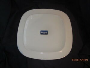 DENBY-WHITE-SQUARES-DINNER-PLATE-BRAND-NEW-FIRST-QUALITY-WITH-LABELS-29cm