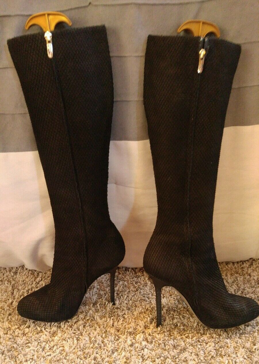 Sergio Rossi Black Calf Boots. Snake Textured. Size 38 1/2.