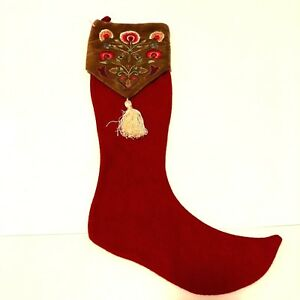 Vintage-Elf-Shoe-Christmas-Stocking-Embroidered-Floral-Top-Red-Brown-Cannon-22-034