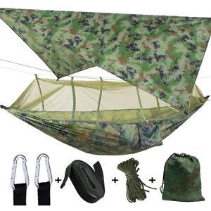 Camping Outdoor Mosquito Net Hammock Tent + Rain Tarp Set Hanging Bed Swing USA