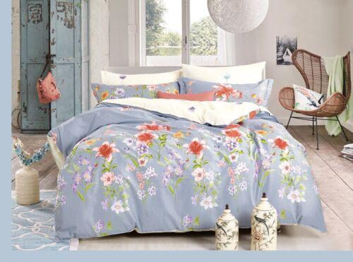 New Blue King Duvet 100/% Percale Cotton Duvet Quilt Cover and 2 Pillowcase
