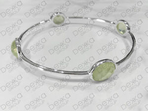 925-Sterling-Silver-Bangle-Bracelet-Gemstones-Prehnite-Semi-Precious-Medium-Size