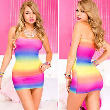 Tube Top Sexy Beach Mini Dress Rainbow Striped Pride Costume Sunrise Ombre OS US
