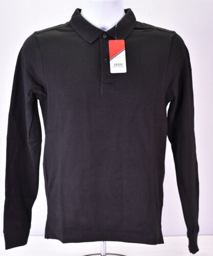 Black Young Men/'s IZOD Long Sleeve Piqué Polo Uniform Shirt