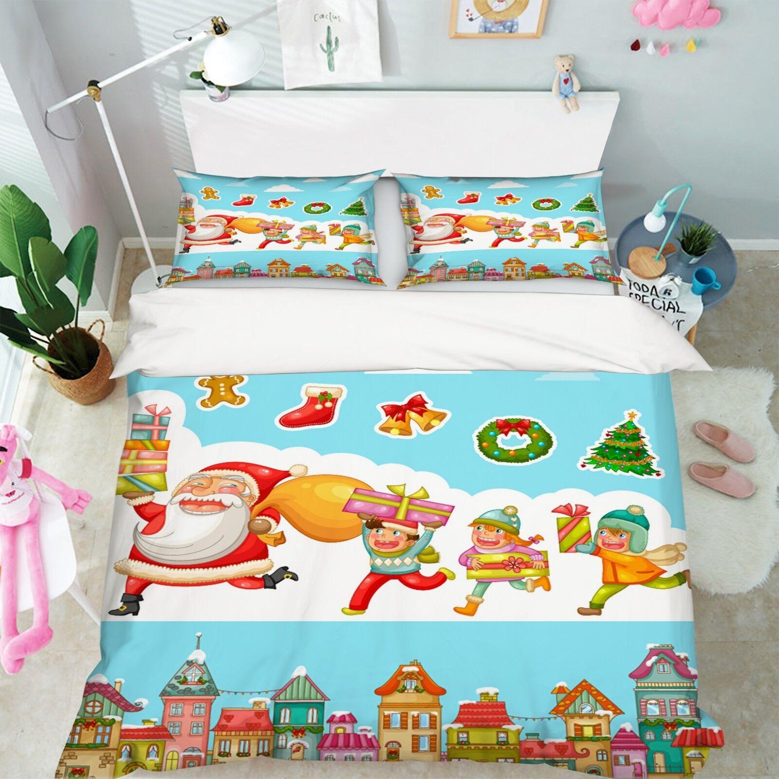 3D Christmas Xmas Kid  89 Bed Pillowcases Quilt Duvet Cover Set Single Queen UK